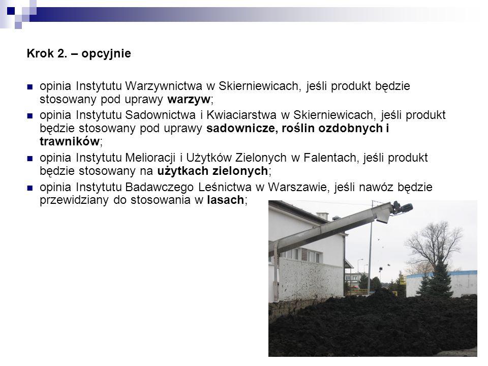 Krok 2. – opcyjnie opinia Instytutu Warzywnictwa w Skierniewicach, jeśli produkt będzie stosowany pod uprawy warzyw; opinia Instytutu Sadownictwa i Kw
