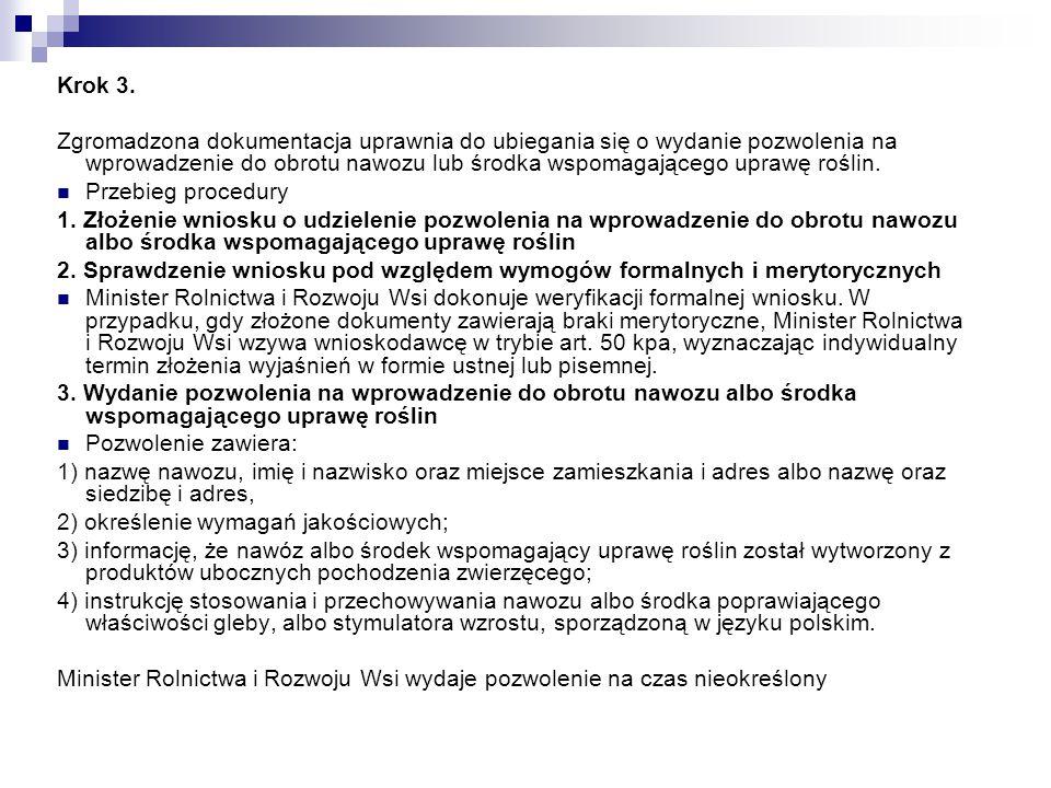 Krok 3. Zgromadzona dokumentacja uprawnia do ubiegania się o wydanie pozwolenia na wprowadzenie do obrotu nawozu lub środka wspomagającego uprawę rośl