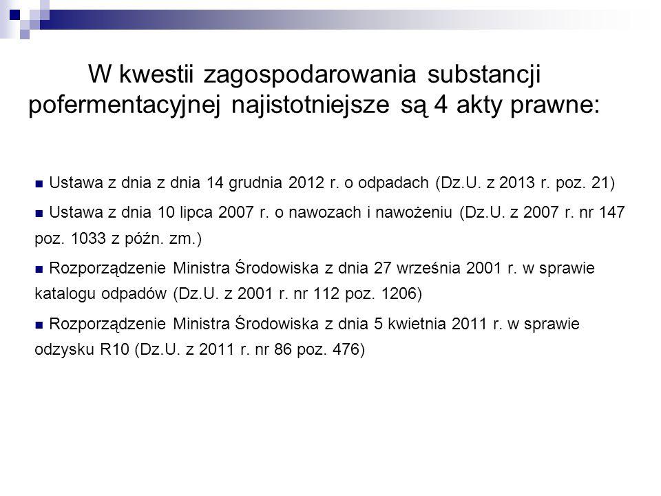 W kwestii zagospodarowania substancji pofermentacyjnej najistotniejsze są 4 akty prawne: Ustawa z dnia z dnia 14 grudnia 2012 r. o odpadach (Dz.U. z 2