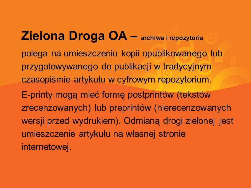 Zielona Droga OA – archiwa i repozytoria polega na umieszczeniu kopii opublikowanego lub przygotowywanego do publikacji w tradycyjnym czasopiśmie artykułu w cyfrowym repozytorium.
