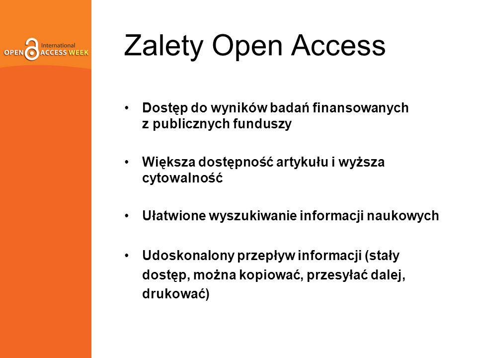 Zalety Open Access Dostęp do wyników badań finansowanych z publicznych funduszy Większa dostępność artykułu i wyższa cytowalność Ułatwione wyszukiwanie informacji naukowych Udoskonalony przepływ informacji (stały dostęp, można kopiować, przesyłać dalej, drukować)
