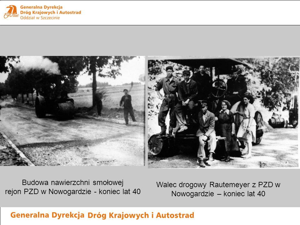 Budowa nawierzchni smołowej rejon PZD w Nowogardzie - koniec lat 40 Walec drogowy Rautemeyer z PZD w Nowogardzie – koniec lat 40