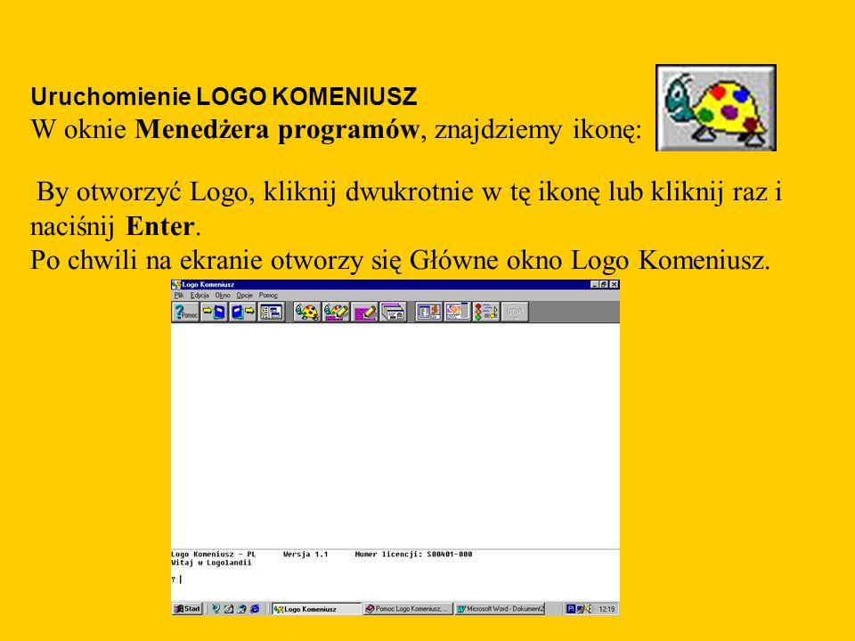 Uruchomienie LOGO KOMENIUSZ W oknie Menedżera programów, znajdziemy ikonę: By otworzyć Logo, kliknij dwukrotnie w tę ikonę lub kliknij raz i naciśnij Enter.