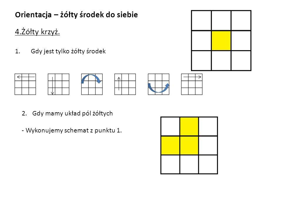 Orientacja – żółty środek do siebie 4.Żółty krzyż. 1.Gdy jest tylko żółty środek 2.Gdy mamy układ pól żółtych - Wykonujemy schemat z punktu 1.