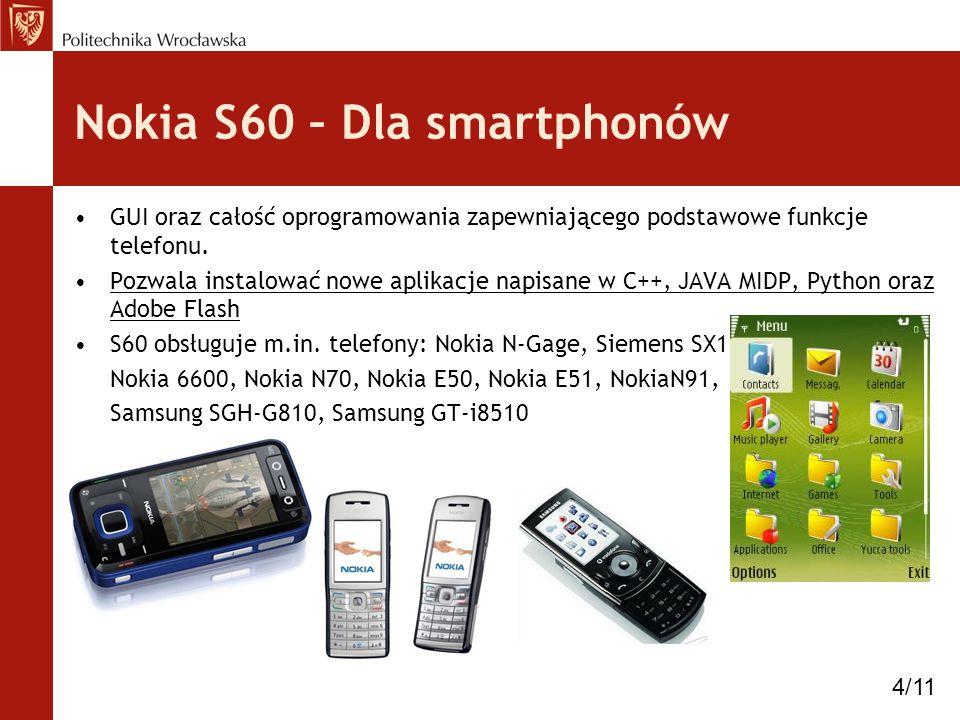 Nokia S60 – Dla smartphonów GUI oraz całość oprogramowania zapewniającego podstawowe funkcje telefonu. Pozwala instalować nowe aplikacje napisane w C+