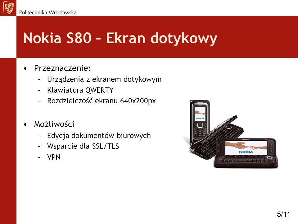 Nokia S80 – Ekran dotykowy Przeznaczenie: –Urządzenia z ekranem dotykowym –Klawiatura QWERTY –Rozdzielczość ekranu 640x200px Możliwości –Edycja dokume