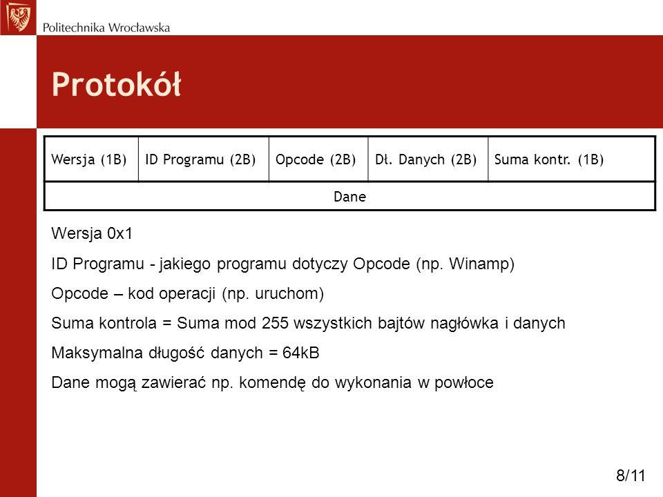 Protokół Wersja (1B)ID Programu (2B)Opcode (2B)Dł. Danych (2B)Suma kontr. (1B) Dane Wersja 0x1 ID Programu - jakiego programu dotyczy Opcode (np. Wina