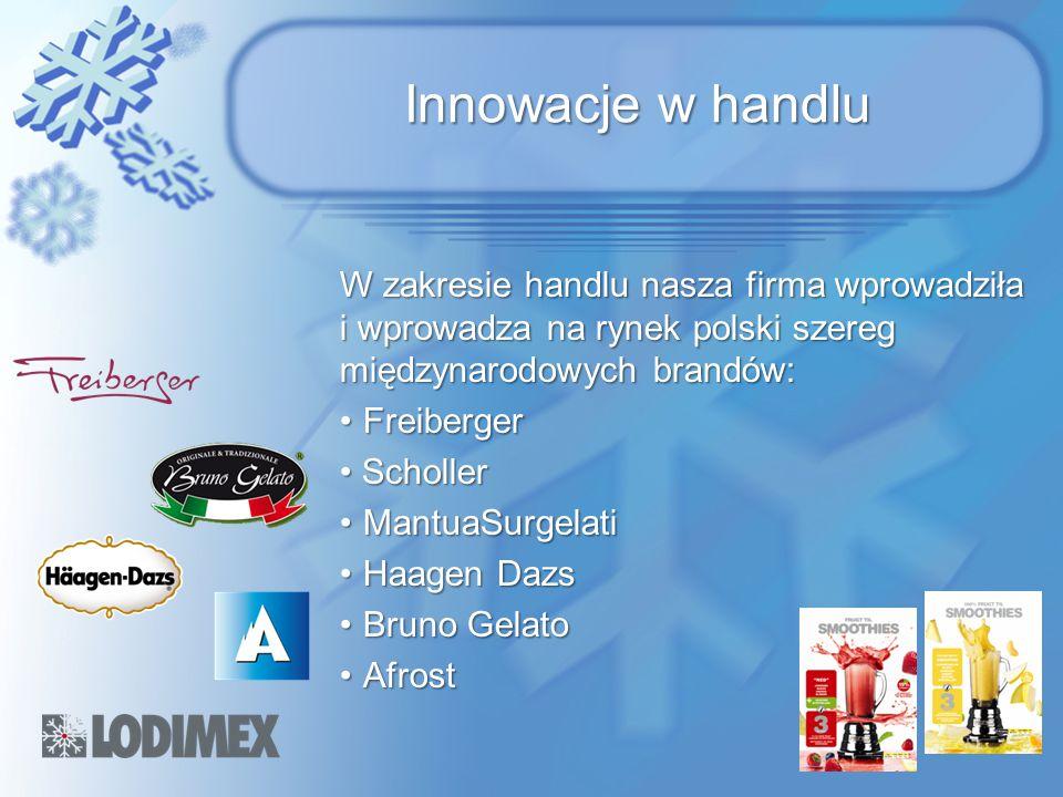 Innowacje w handlu W zakresie handlu nasza firma wprowadziła i wprowadza na rynek polski szereg międzynarodowych brandów: FreibergerFreiberger Scholle