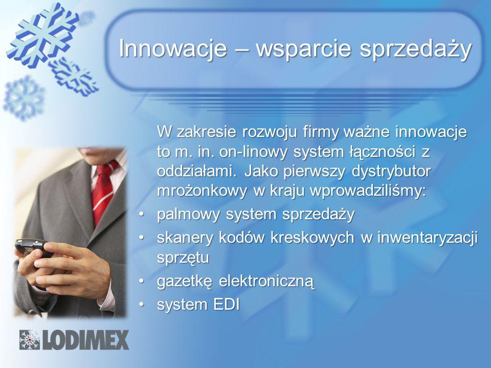 Innowacje – wsparcie sprzedaży W zakresie rozwoju firmy ważne innowacje to m. in. on-linowy system łączności z oddziałami. Jako pierwszy dystrybutor m