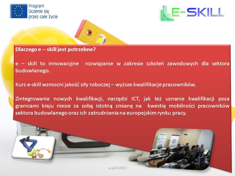e-skill 2013 Dlaczego e – skill jest potrzebne? e – skill to innowacyjne rozwiązanie w zakresie szkoleń zawodowych dla sektora budowlanego. Kurs e-ski