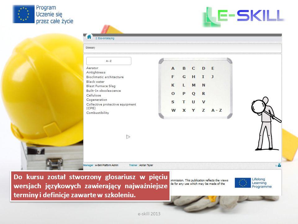 e-skill 2013 Do kursu został stworzony glosariusz w pięciu wersjach językowych zawierający najważniejsze terminy i definicje zawarte w szkoleniu.