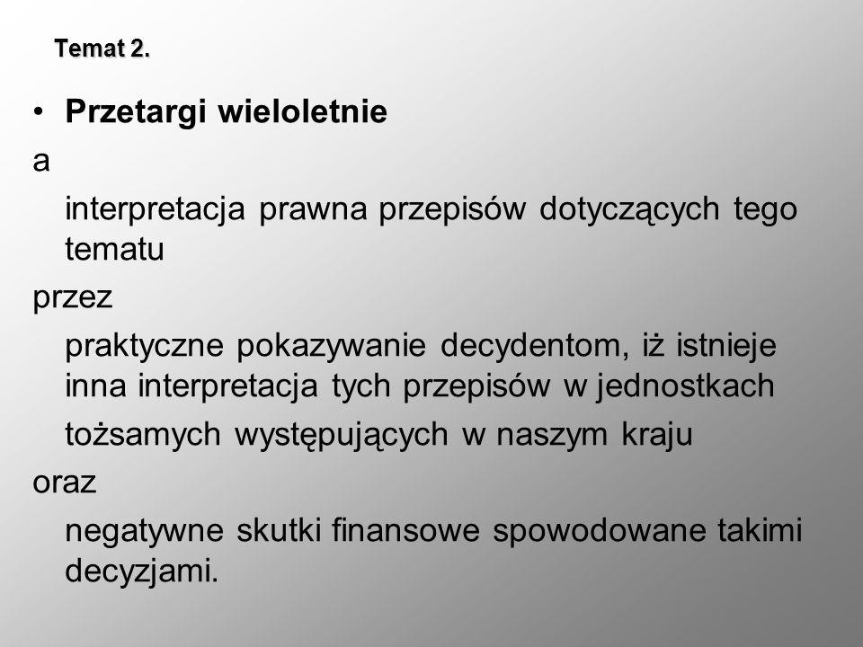 Temat 2. Przetargi wieloletnie a interpretacja prawna przepisów dotyczących tego tematu przez praktyczne pokazywanie decydentom, iż istnieje inna inte