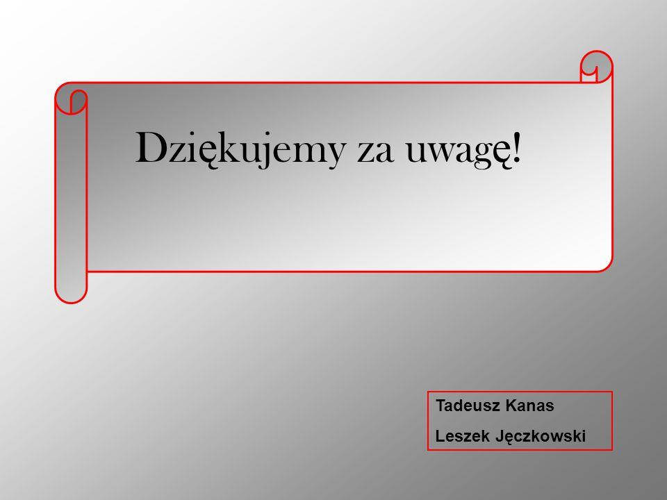 Dzi ę kujemy za uwag ę ! Tadeusz Kanas Leszek Jęczkowski
