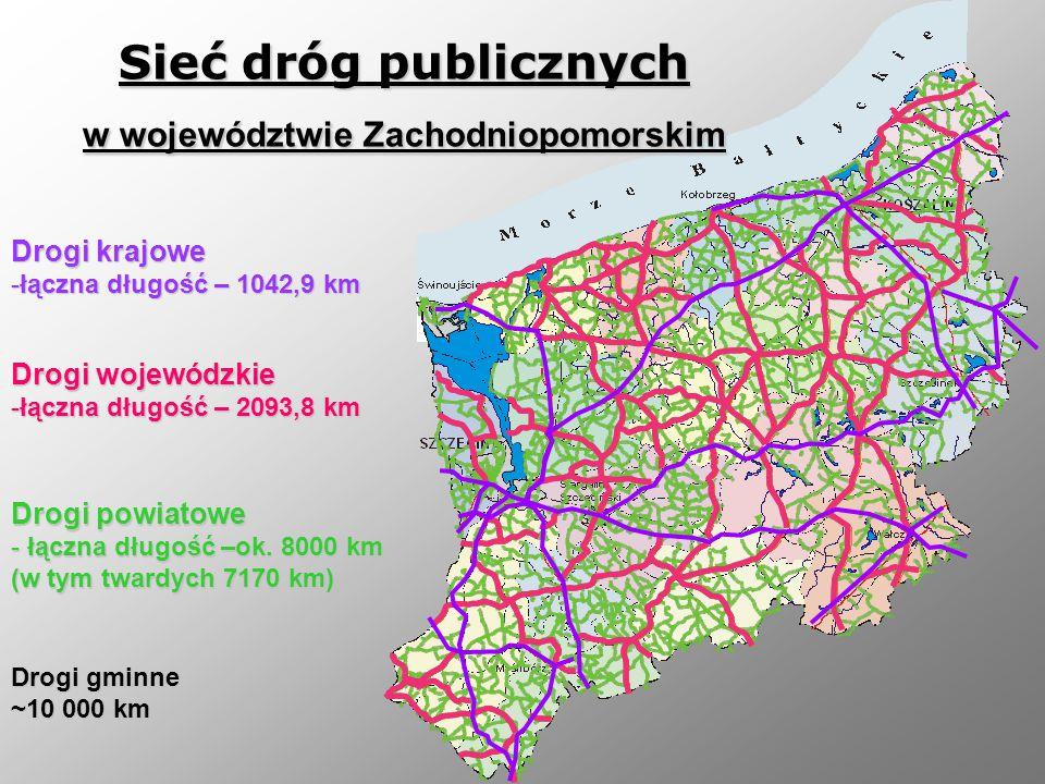 Drogi wojewódzkie -łączna długość – 2093,8 km Drogi krajowe -łączna długość – 1042,9 km Drogi powiatowe - łączna długość –ok. 8000 km (w tym twardych