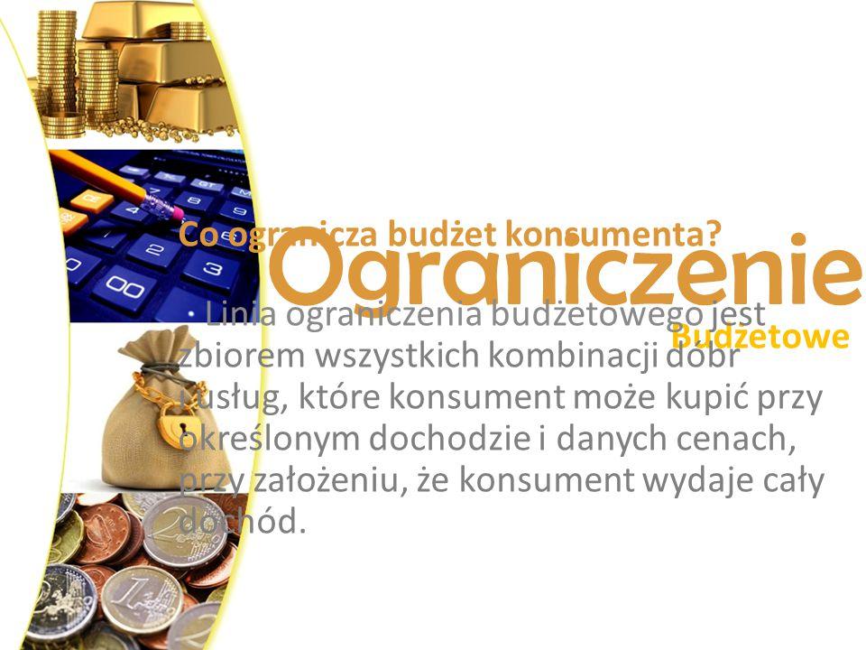 Ograniczenie Budżetowe Co ogranicza budżet konsumenta? Linia ograniczenia budżetowego jest zbiorem wszystkich kombinacji dóbr i usług, które konsument