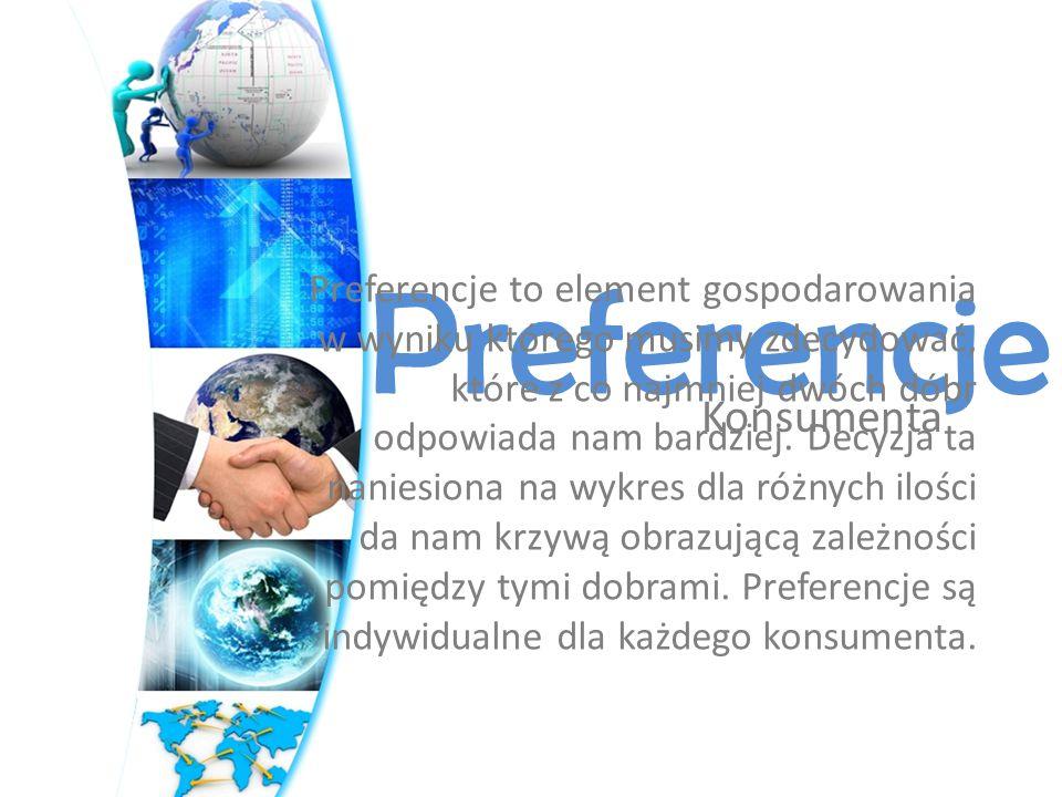 Konsumenta Preferencje Preferencje to element gospodarowania w wyniku którego musimy zdecydować, które z co najmniej dwóch dóbr odpowiada nam bardziej.