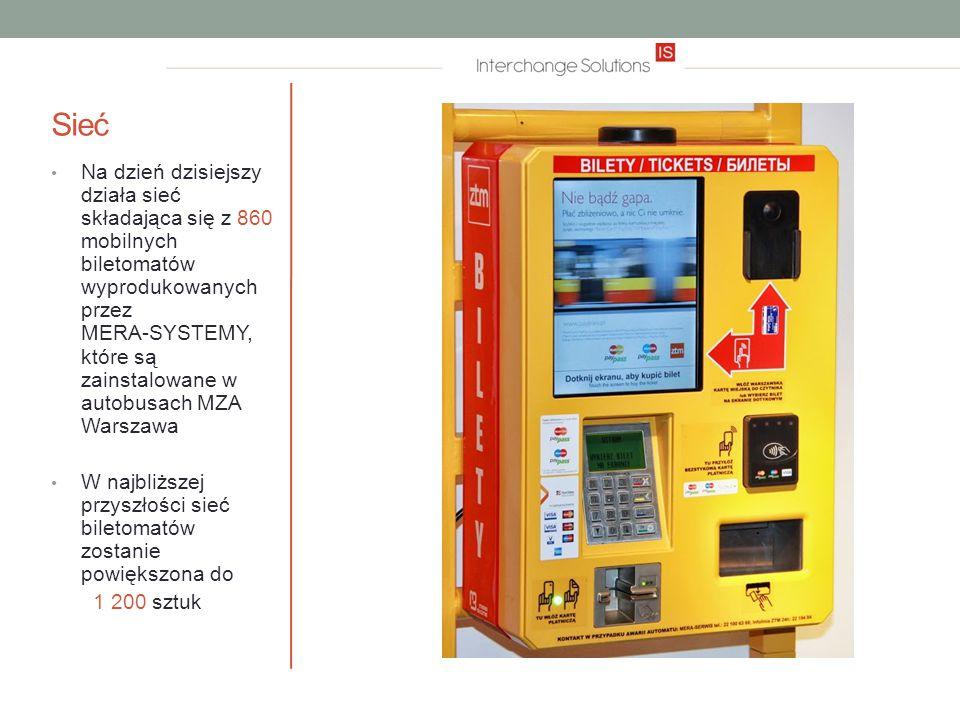 Sieć Na dzień dzisiejszy działa sieć składająca się z 860 mobilnych biletomatów wyprodukowanych przez MERA-SYSTEMY, które są zainstalowane w autobusach MZA Warszawa W najbliższej przyszłości sieć biletomatów zostanie powiększona do 1 200 sztuk