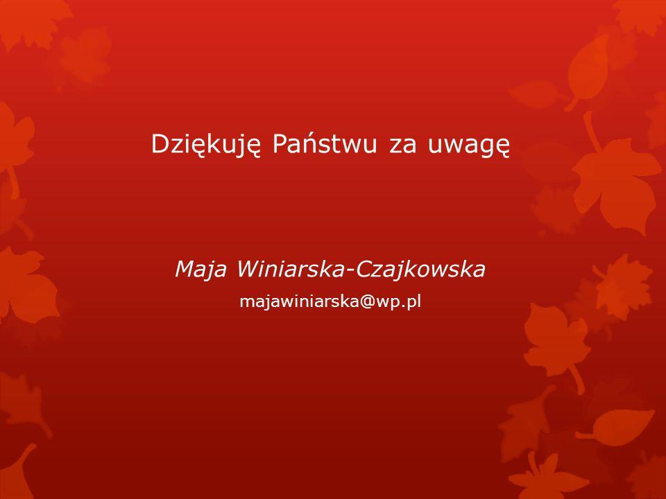 Dziękuję Państwu za uwagę Maja Winiarska-Czajkowska majawiniarska@wp.pl
