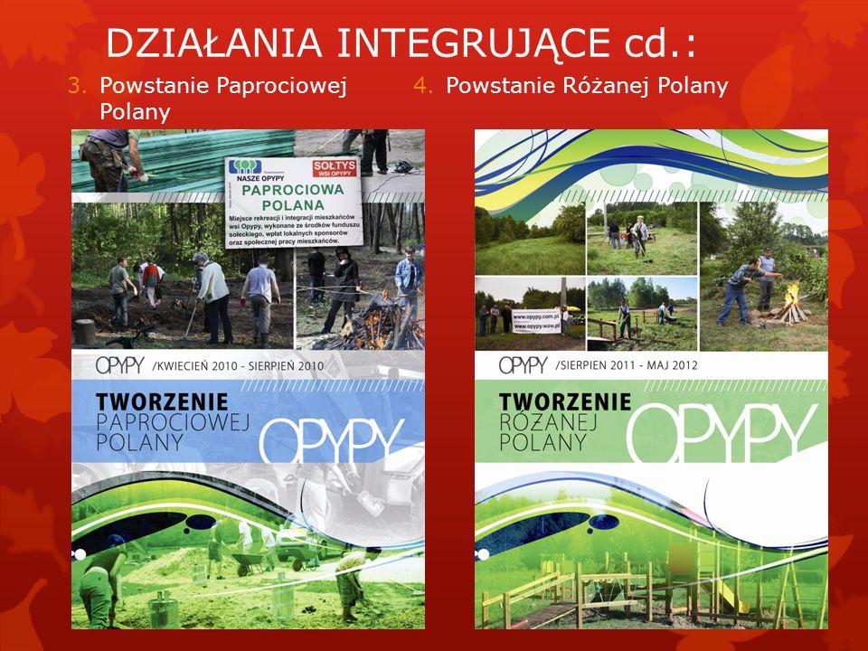 3.Powstanie Paprociowej Polany 4.Powstanie Różanej Polany DZIAŁANIA INTEGRUJĄCE cd.: