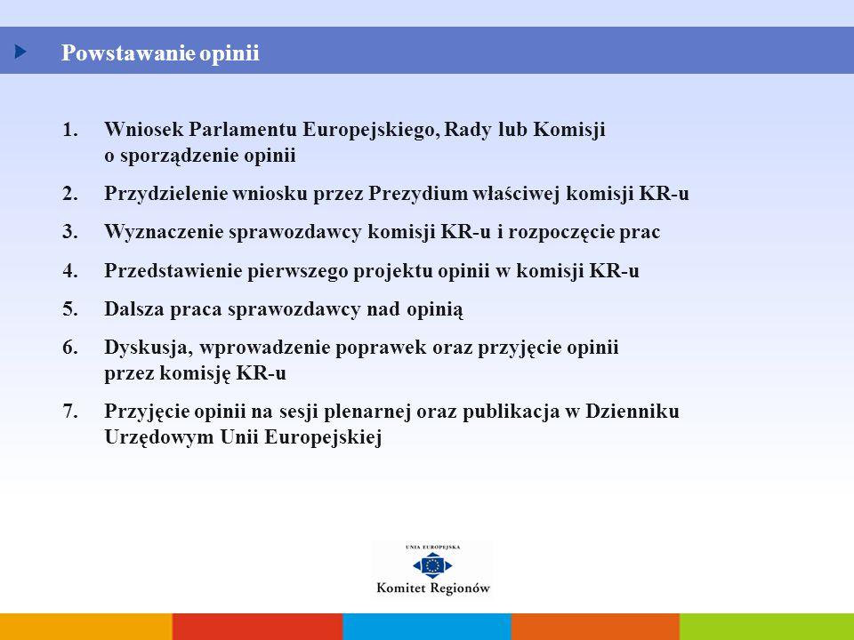 1.Wniosek Parlamentu Europejskiego, Rady lub Komisji o sporządzenie opinii 2.Przydzielenie wniosku przez Prezydium właściwej komisji KR-u 3.Wyznaczeni