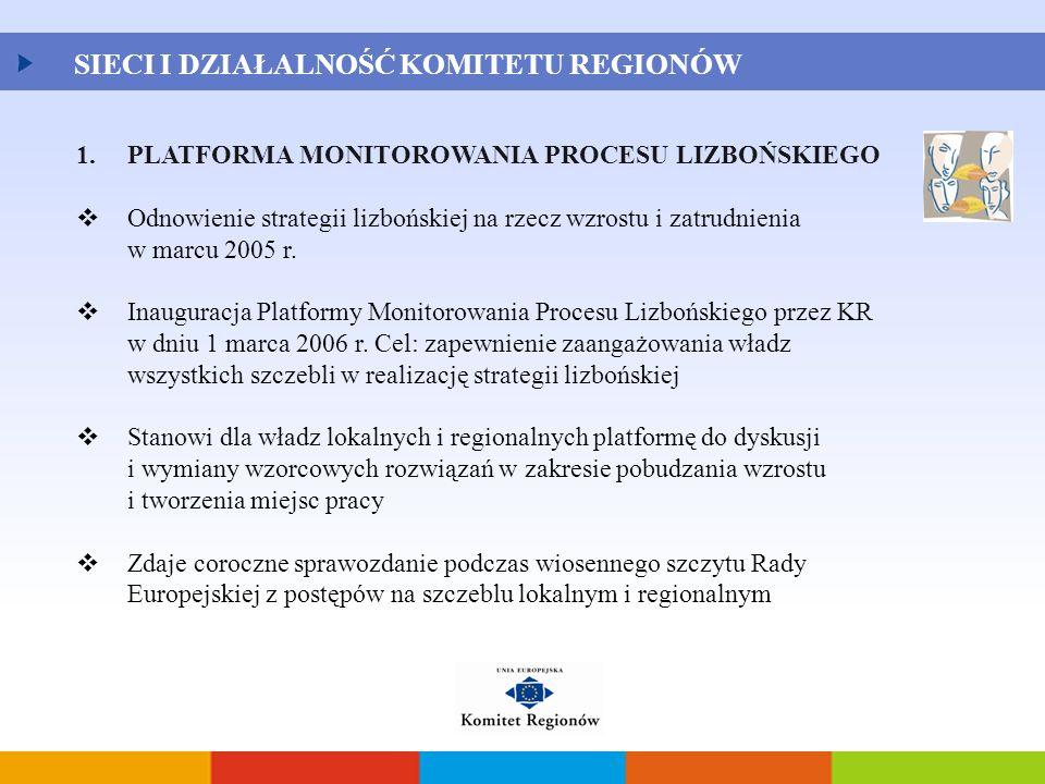 1.PLATFORMA MONITOROWANIA PROCESU LIZBOŃSKIEGO  Odnowienie strategii lizbońskiej na rzecz wzrostu i zatrudnienia w marcu 2005 r.  Inauguracja Platfo