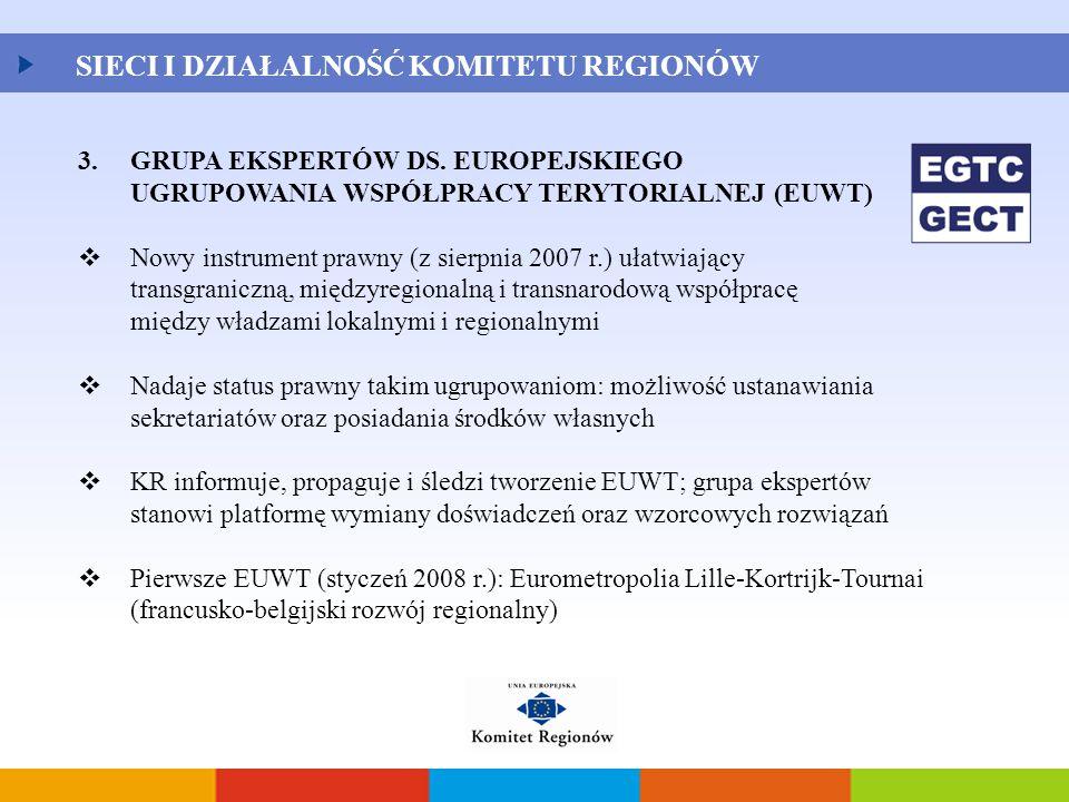 3.GRUPA EKSPERTÓW DS. EUROPEJSKIEGO UGRUPOWANIA WSPÓŁPRACY TERYTORIALNEJ (EUWT)  Nowy instrument prawny (z sierpnia 2007 r.) ułatwiający transgranicz