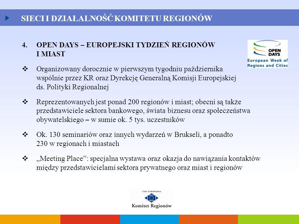 SIECI I DZIAŁALNOŚĆ KOMITETU REGIONÓW 4.OPEN DAYS – EUROPEJSKI TYDZIEŃ REGIONÓW I MIAST  Organizowany dorocznie w pierwszym tygodniu października wsp