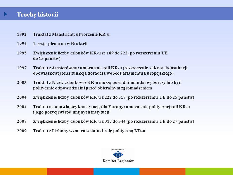 Trochę historii 1992Traktat z Maastricht: utworzenie KR-u 19941. sesja plenarna w Brukseli 1995Zwiększenie liczby członków KR-u ze 189 do 222 (po rozs