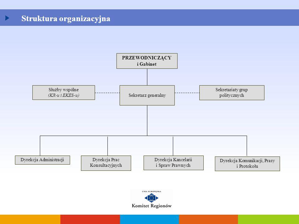 Struktura organizacyjna PRZEWODNICZĄCY i Gabinet Sekretarz generalny Służby wspólne (KR-u i EKES-u) Sekretariaty grup politycznych Dyrekcja Prac Konsu