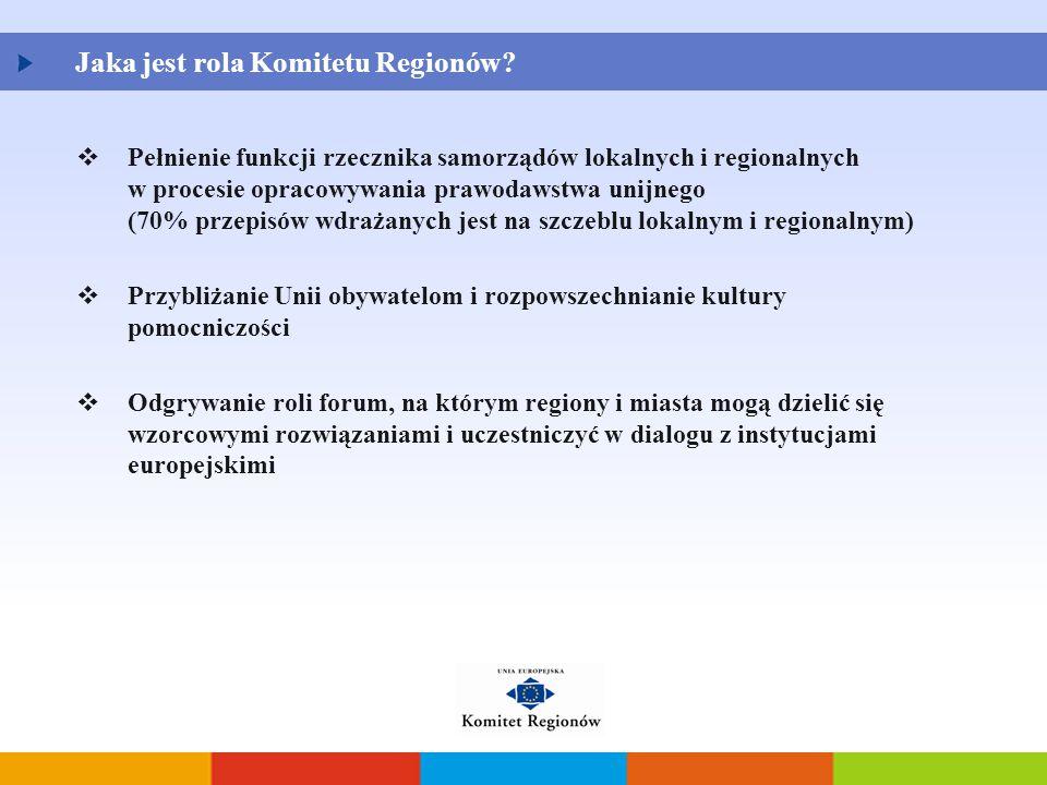  Pełnienie funkcji rzecznika samorządów lokalnych i regionalnych w procesie opracowywania prawodawstwa unijnego (70% przepisów wdrażanych jest na szc