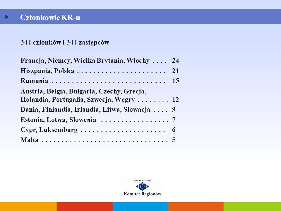 Członkowie KR-u 344 członków i 344 zastępców Francja, Niemcy, Wielka Brytania, Włochy.... 24 Hiszpania, Polska...................... 21 Rumunia.......