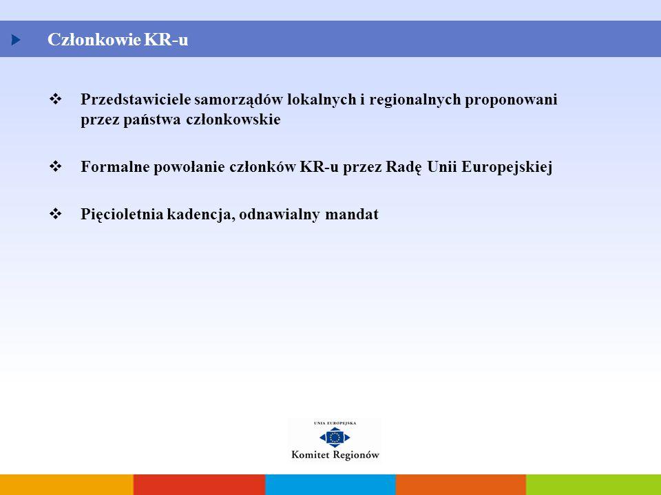 Członkowie KR-u  Przedstawiciele samorządów lokalnych i regionalnych proponowani przez państwa członkowskie  Formalne powołanie członków KR-u przez