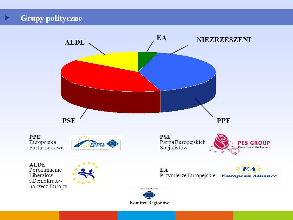 Grupy polityczne NIEZRZESZENI PPEPSE ALDE EA PPE E Europejska Partia Ludowa PSE Partia Europejskich Socjalistów ALDE Porozumienie Liberałów i Demokrat