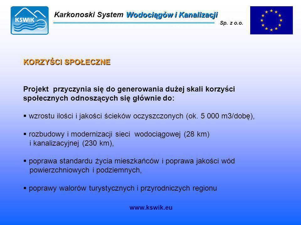 Karkonoski System Wodociągów i Kanalizacji Sp. z o.o. KORZYŚCI SPOŁECZNE Projekt przyczynia się do generowania dużej skali korzyści społecznych odnosz