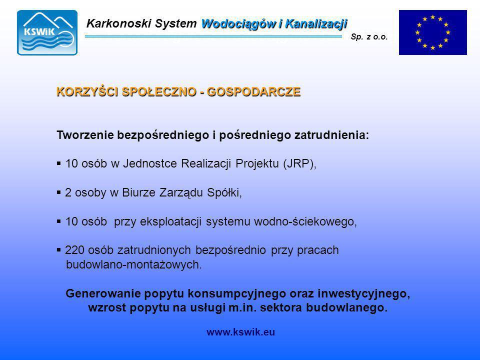 Karkonoski System Wodociągów i Kanalizacji Sp. z o.o. KORZYŚCI SPOŁECZNO - GOSPODARCZE Tworzenie bezpośredniego i pośredniego zatrudnienia:  10 osób