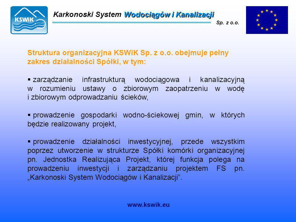Karkonoski System Wodociągów i Kanalizacji Sp. z o.o. Struktura organizacyjna KSWiK Sp. z o.o. obejmuje pełny zakres działalności Spółki, w tym:  zar