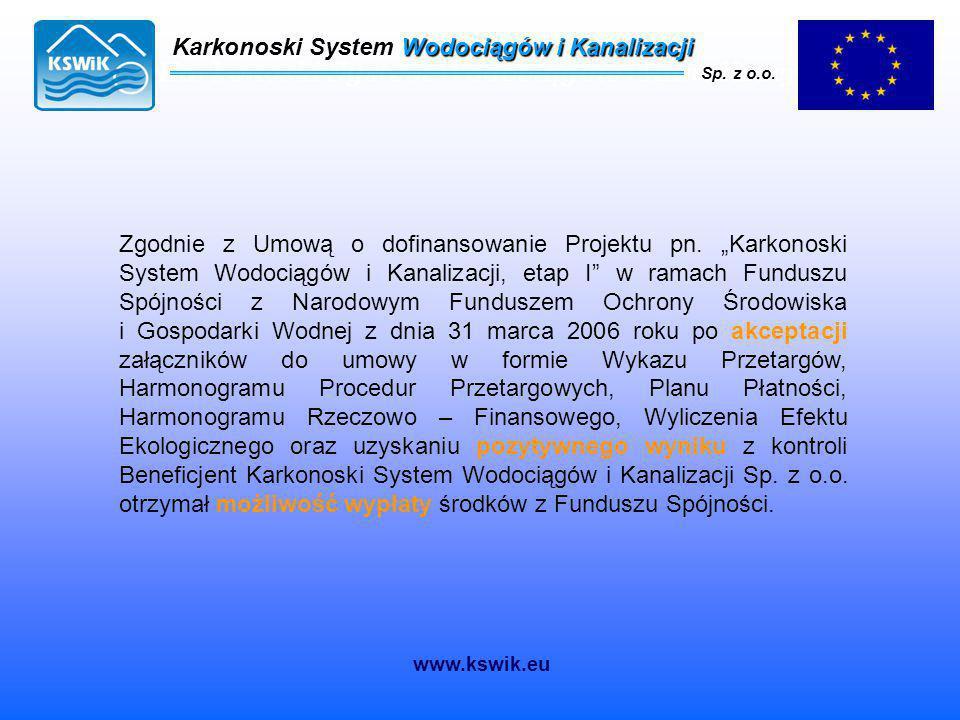 Karkonoski System Wodociągów i Kanalizacji Sp. z o.o. Karkonoski System Wodociągów i Kanalizacji Sp. z o.o. Zgodnie z Umową o dofinansowanie Projektu