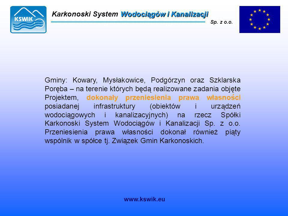 Karkonoski System Wodociągów i Kanalizacji Sp. z o.o. Gminy: Kowary, Mysłakowice, Podgórzyn oraz Szklarska Poręba – na terenie których będą realizowan