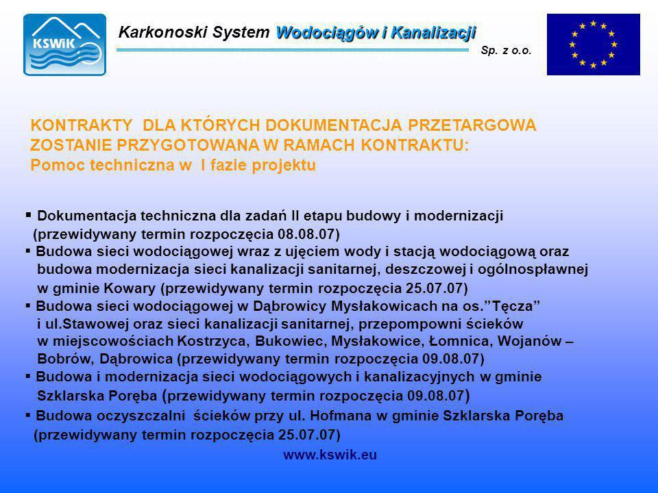 Karkonoski System Wodociągów i Kanalizacji Sp. z o.o. Karkonoski System Wodociągów i Kanalizacji Sp. z o.o. KONTRAKTY DLA KTÓRYCH DOKUMENTACJA PRZETAR