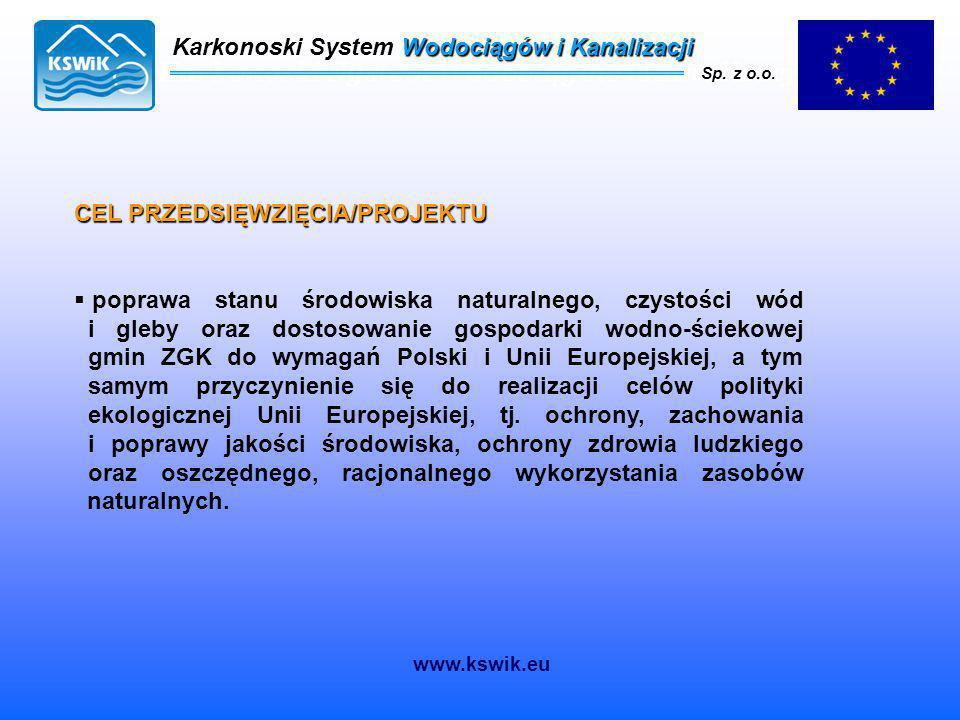 Karkonoski System Wodociągów i Kanalizacji Sp. z o.o. CEL PRZEDSIĘWZIĘCIA/PROJEKTU  poprawa stanu środowiska naturalnego, czystości wód i gleby oraz