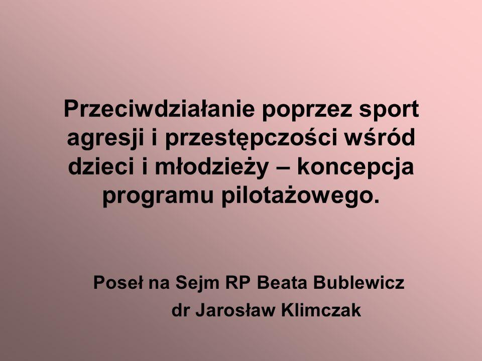 Przeciwdziałanie poprzez sport agresji i przestępczości wśród dzieci i młodzieży – koncepcja programu pilotażowego.