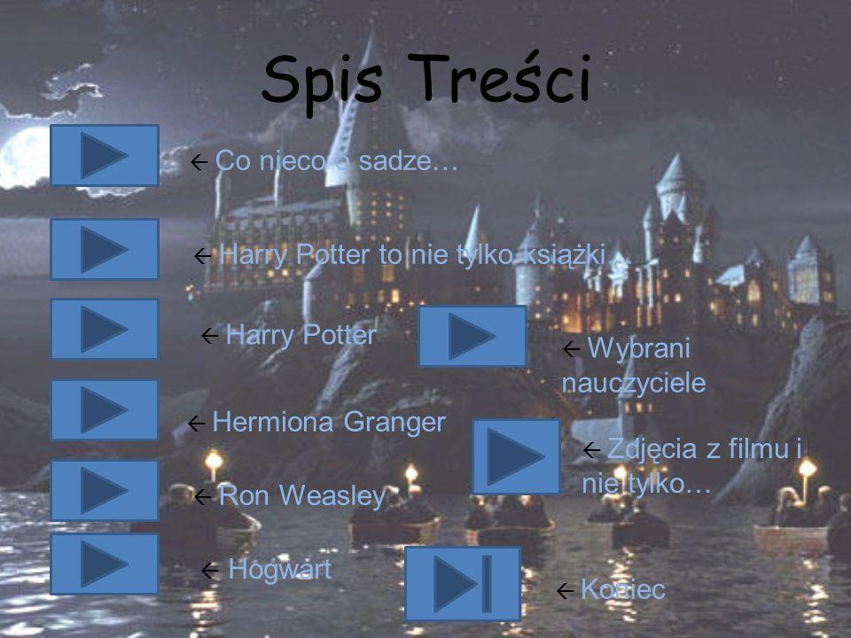 Spis Treści  Co nieco o sadze…  Harry Potter to nie tylko książki…  Harry Potter  Hermiona Granger  Ron Weasley  Hogwart  Wybrani nauczyciele 