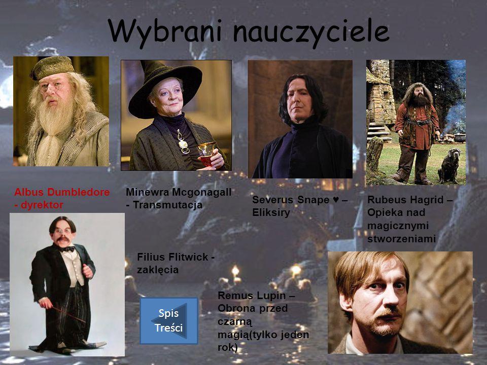 Wybrani nauczyciele Albus Dumbledore - dyrektor Minewra Mcgonagall - Transmutacja Severus Snape ♥ – Eliksiry Rubeus Hagrid – Opieka nad magicznymi stw