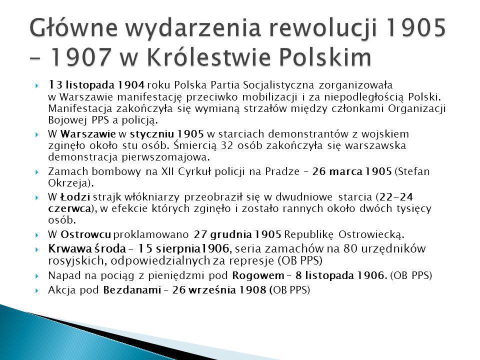  1 3 listopada 1904 roku Polska Partia Socjalistyczna zorganizowała w Warszawie manifestację przeciwko mobilizacji i za niepodległością Polski. Manif
