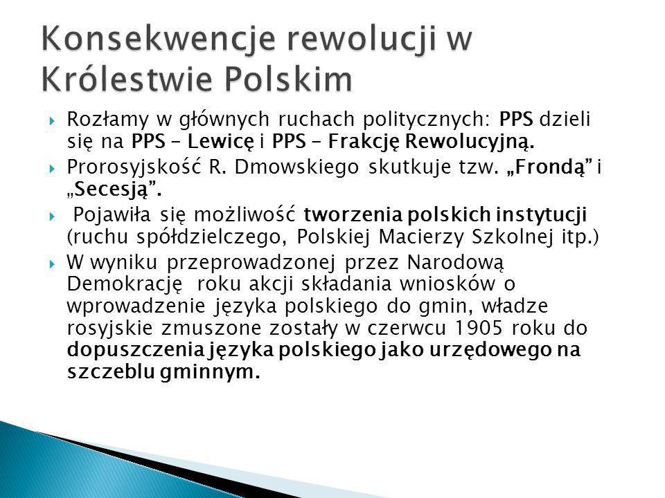 """ Rozłamy w głównych ruchach politycznych: PPS dzieli się na PPS – Lewicę i PPS – Frakcję Rewolucyjną.  Prorosyjskość R. Dmowskiego skutkuje tzw. """"Fr"""