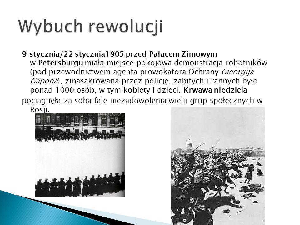 9 stycznia/22 stycznia1905 przed Pałacem Zimowym w Petersburgu miała miejsce pokojowa demonstracja robotników (pod przewodnictwem agenta prowokatora O