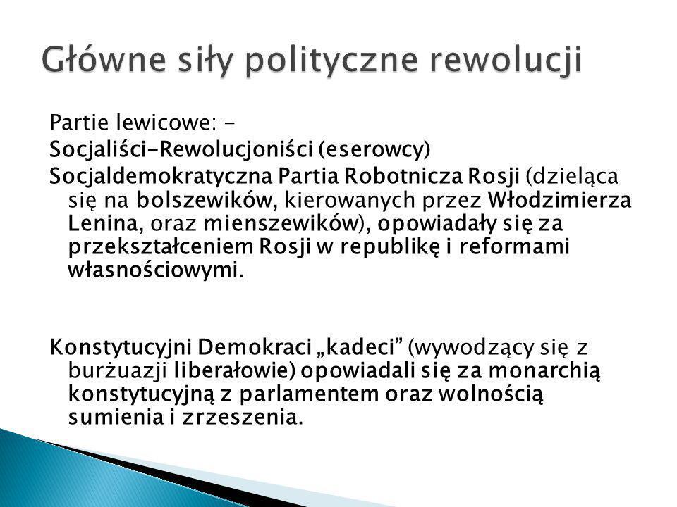 Partie lewicowe: - Socjaliści-Rewolucjoniści (eserowcy) Socjaldemokratyczna Partia Robotnicza Rosji (dzieląca się na bolszewików, kierowanych przez Wł