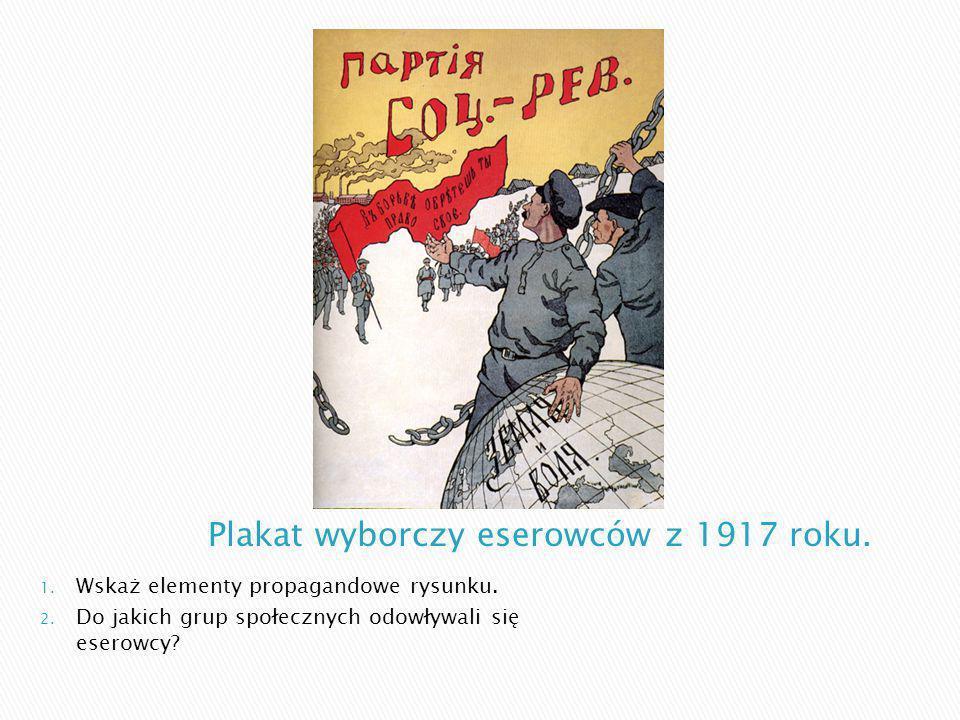 1. Wskaż elementy propagandowe rysunku. 2. Do jakich grup społecznych odowływali się eserowcy?