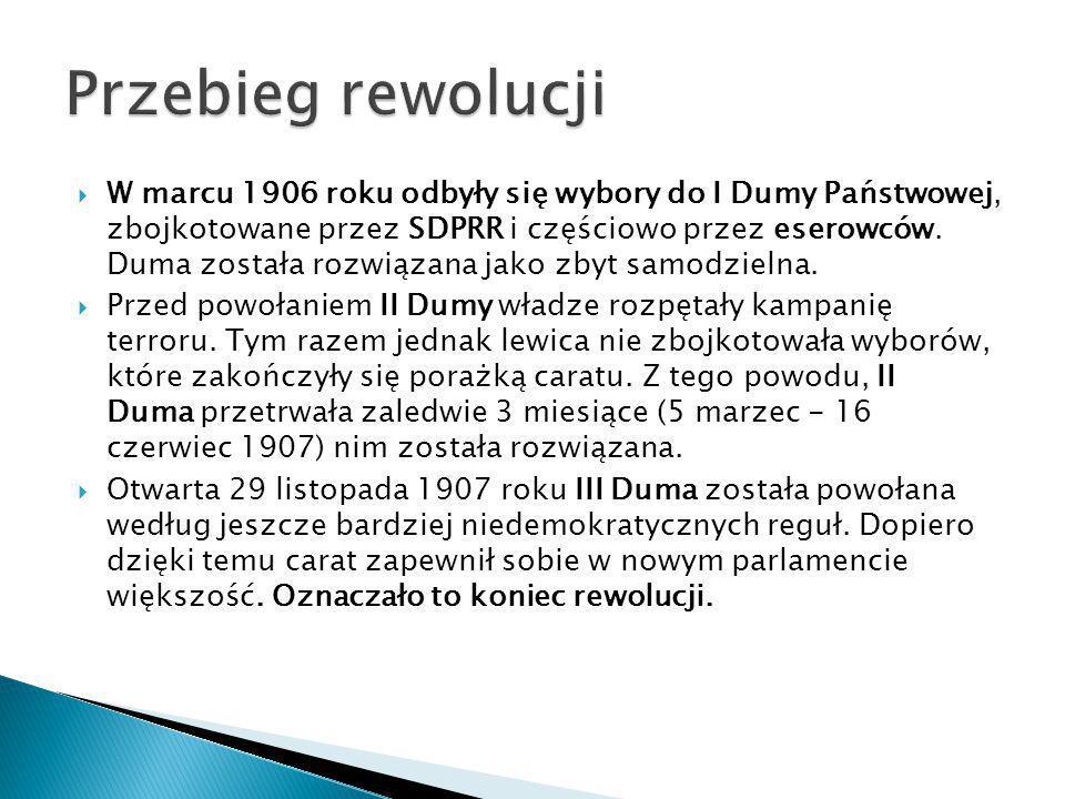  W marcu 1906 roku odbyły się wybory do I Dumy Państwowej, zbojkotowane przez SDPRR i częściowo przez eserowców. Duma została rozwiązana jako zbyt sa