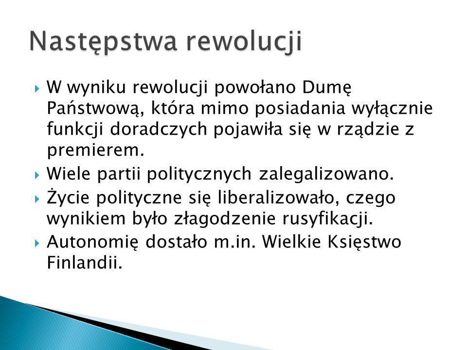  W wyniku rewolucji powołano Dumę Państwową, która mimo posiadania wyłącznie funkcji doradczych pojawiła się w rządzie z premierem.  Wiele partii po